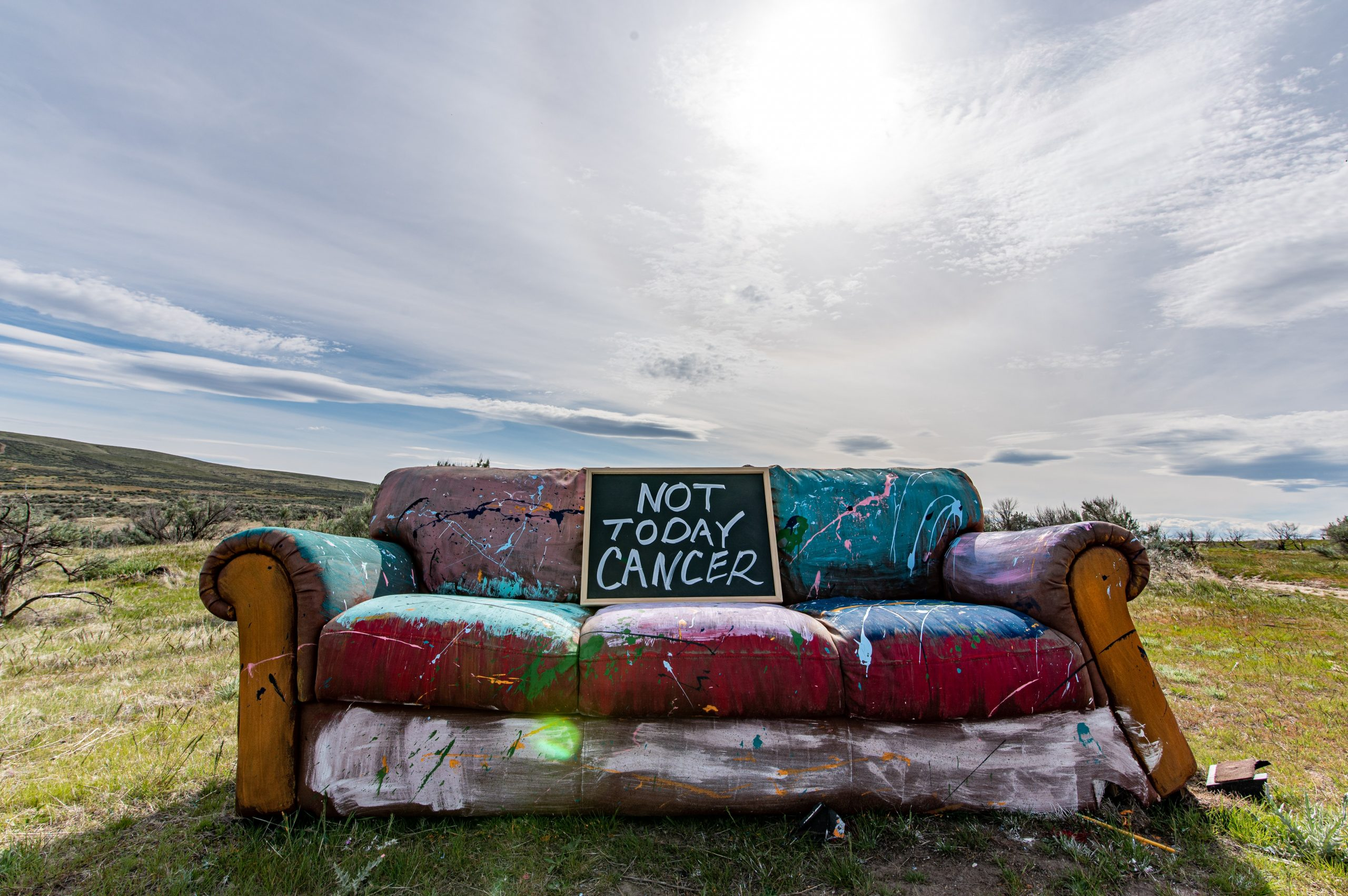 Mod sofa with with words not today cancer